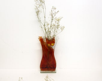 Red Fused glass vase