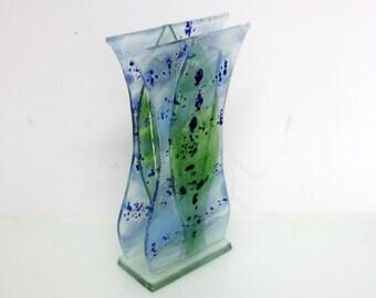 Fused glass vase - Blue Green spring landscape