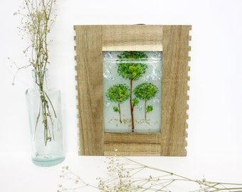 trees view, Original Painting on glass,  Fused glass landscape  wall art