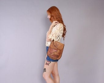 70s TOOLED & Painted LEATHER PURSE / 1970s Bohemian Floral Soft Brown Leather Bag