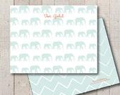 Kids Stationery // Baby Stationary // Baby Shower Thank You // Newborn Thank You // Elephant Mom and Baby Stationery