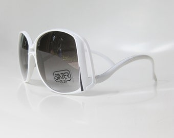 SALE Vintage White Italian Sunglasses Avant Garde Sidewinder 1970s 70s Oversized Bright Womens Ladies Indie Hipster Chic Made in Italy New