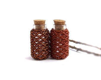 Brown Rust Little Container Set Glass Vial Cork Bud Vase Mini Beaded Woven Bottle Sepia Handmade Home Decor
