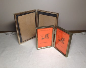 Vintage Gold PICTURE FRAME Set of 2 Folding 3.5x5 and 5x7 Metal