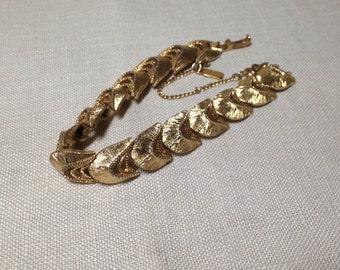 Vintage Monet Bracelet Brushed Gold Tone Link Signed, Safety Chain