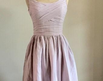 Bevina Ruche Dress - Custom colors, knee length, scoop neckline, pockets, pleats, bridesmaids, lavender, tea dress