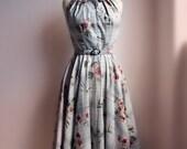 1950's dress halter peter pan collar circle skirt dress  and matching bolero/Custom Listing for Babs