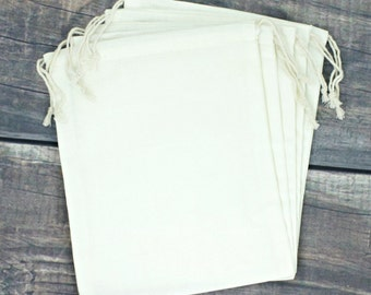 Set of 12 Premium Large Muslin 8 x 10 Drawstring Bags for Favors, Weddings, Parties, or Gifts