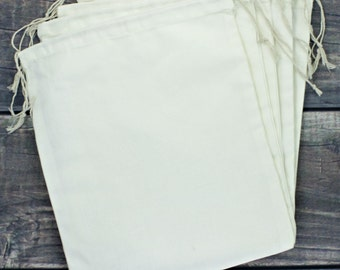 Set of 6 Jumbo 10 x 12 Premium Muslin Drawstring Bags for Favors, Weddings, Parties, or Gifts