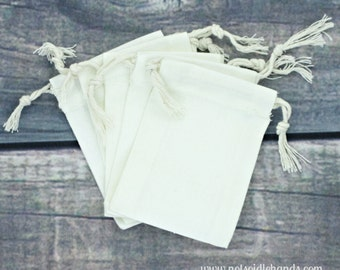 Wholesale Set of 100 Mini Small Premium Muslin 2.75 x 4 Drawstring Bags for Favors, Weddings, Parties, or Gifts