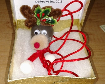 Christmas Necklace, Rudolph Necklace, Bell Necklace, Holiday Jewelry