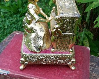 SALE - Victorian Lady Playing Piano Mechanical Music Box from Rustysecrets