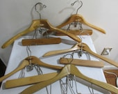 Wood Coat and Pants Hanger Note Clamp Picture Holder Set of 5