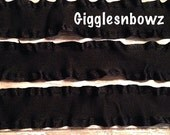 1.5 inch DOUBLE RUFFLE Satin Ribbon- BLACK 5 YaRDS Great for Hair bows Scrapbooking Crafts