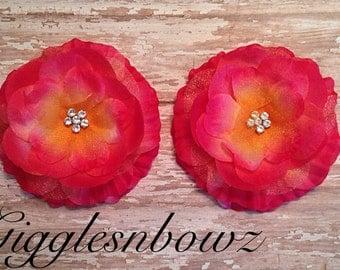 Gorgeous ORaNGE/ HoT PiNK Ruffled Rhinestone Center Layered Flower