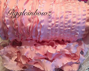 7/8 inch DOUBLE RUFFLE Satin Ribbon- PINK Ruffle Ribbon Great for Hair bows Scrapbooking Crafts- Ribbon by the Yard