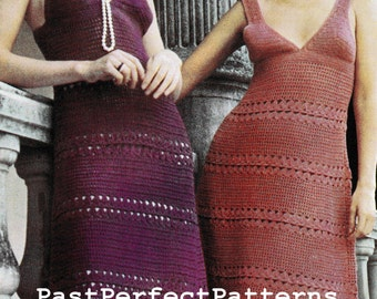 Vintage Crochet Pattern  Maxi or Mini Sun Dress  Wedding Evening Retro 1970s   INSTANT DOWNLOAD PDF