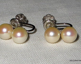 14kt 14k Solid White Gold Double Pearl Earrings Screw On Back Genuine