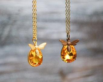 Bee Necklace Honey Amber Crystal Honey Bee Autumn Topaz Rhinestone Honey Bee Vintage Style