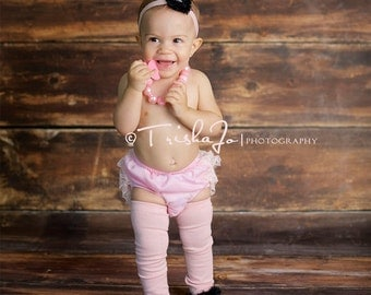 Pink and Black Baby Leg Warmers and Headband