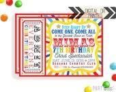 Circus Birthday Invitation | Digital or Printed |  Circus Carnival Invitation | Circus Invitation |  Circus Invite | Circus Party Theme