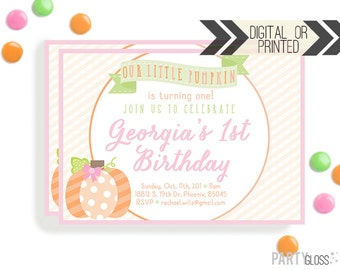 Pumpkin Invitation | Digital or Printed | Pumpkin Party | Little Pumpkin Invite | Girly Pumpkin | Pink Pumpkin Invitation | Little Pumpkin