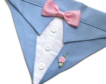 Something Blue Wedding Dog Bandana Leisure Suit Sz XS S M