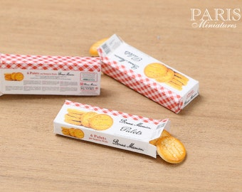 "Box of ""Bonne Maman"" French Butter Cookies - Etched - Miniature Food in 12th Scale for Dollhouse"