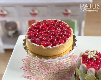 Cherry Tart - Tarte aux Cerises -Made To Order - Miniature Food in 12th Scale for Dollhouse