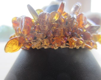 Amber Knitted bead Cuff....FREE SHIPPING