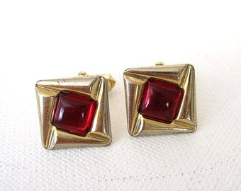 Vintage Hinson Cuff Links Gold Metal, Red Lucite
