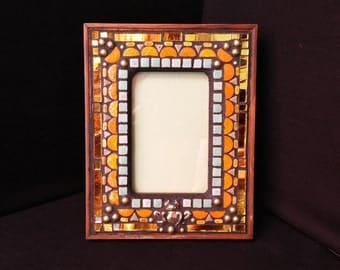 Mosaic Picture Frame Orange