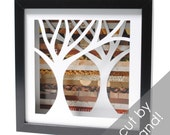 symmetrical tree-  shadowbox made from recycled magazines, handcut, colorful, nature, trees, forest