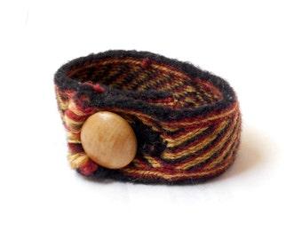Tablet Woven Bracelet - Red, Gold, Black