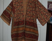 Hippie Kimono - Red Green Mango Flower with Belt -East Indian Tapestry Fabric