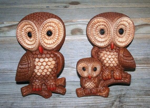 Vintage Retro Homco Big Eyes Owl Family Wall Plaques / Adorable