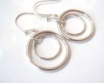 Silver Hoop Dangle Earrings, Tarnish Resistant Sterling Silver