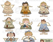 Folkart Angel Clipart Collection with tags - Immediate Download