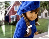 Back to School Hand Knit Sweater and Baret for American Girl Doll 18 Inch Doll