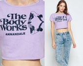 Graphic Shirt Crop Top BODY WORKS ANNANDALE Retro Tee Gym Sports 80s Cropped T Shirt Vintage Crop 1980s Lavender Purple Small