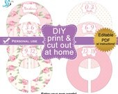 PDF editable printable DIY baby closet dividers clothes organizers (No.44) roses Baby Girl Nursery Digital File