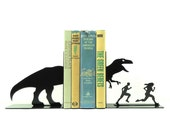 T-Rex Attack Metal Art Bookends - Free USA Shipping