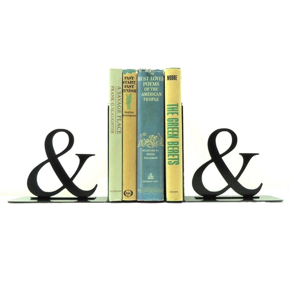 Ampersand Metal Art Bookends - Free USA Shipping