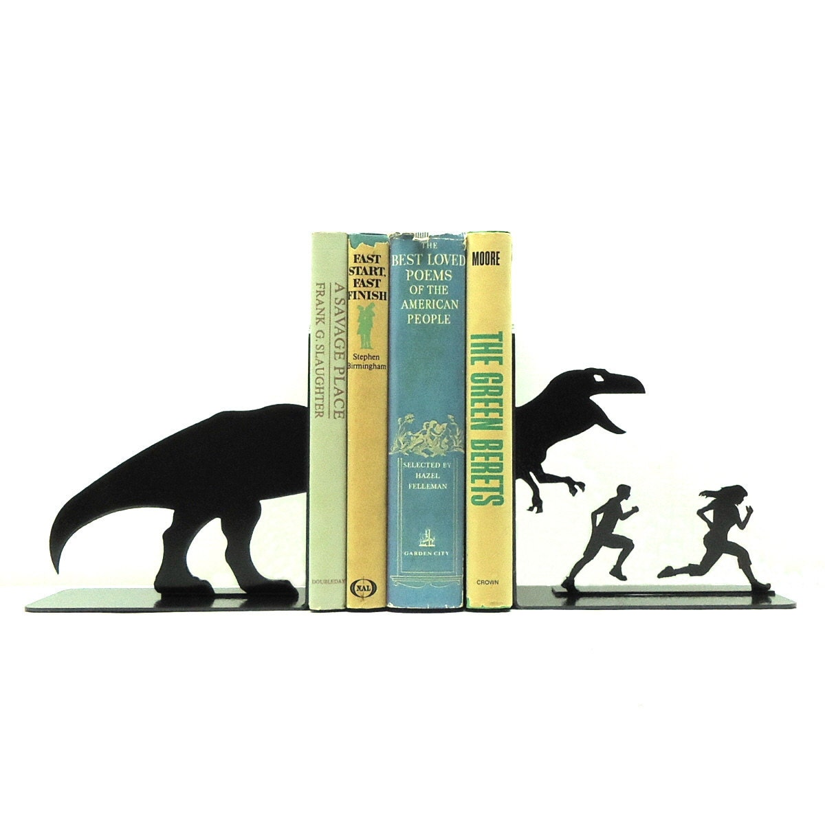 T Rex Attack Metal Art Bookends Free Usa Shipping