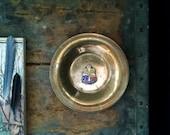 Small Bronze Trinket Dish Plate Denmark Souvenir Coat of Arms