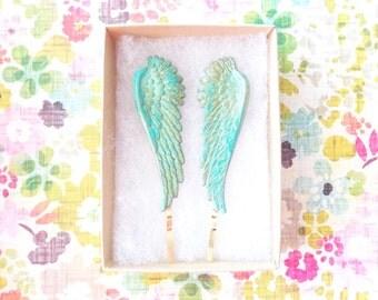 Verdigris Feather Angel Wing Hair Pins - Angel Wing Bobby Pins - Bird - Flight - Woodland Hair - Wedding Hair - Bridal - Green Mint Patina