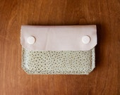 Leather Wallet - The Buddy - In Ivory & Pale Mint