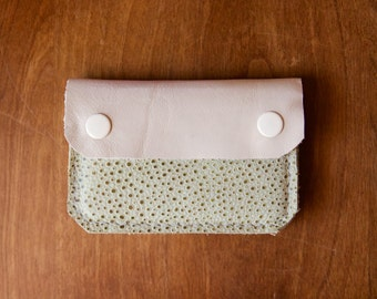 Leather Wallet - The Buddy - In Ivory & Pale Mint - Ready to Ship