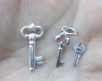 Sterling Silver Key Charms - You choose which style and quantity
