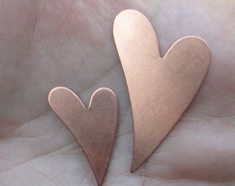 Fancy Copper Heart Stamping Large or Medium size